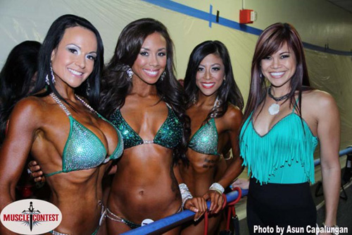 bikini competition in line to go on stage
