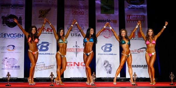 bikini class a top five placers on stage