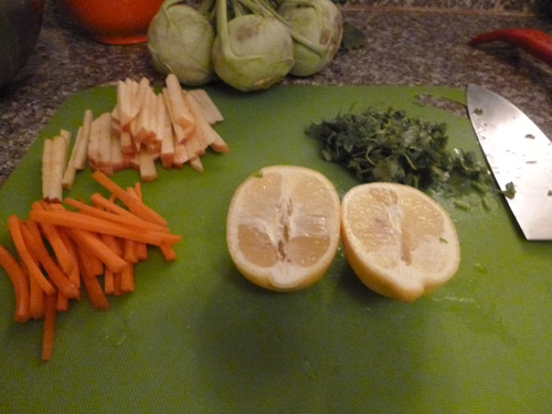 chopped and sliced ingredients