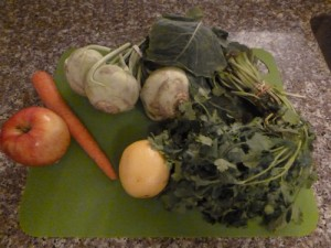 kohlrabi salad raw ingredients