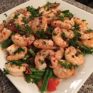 high-protein, low-carb, low-fat, lemon garlic-shrimp recipe
