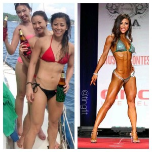 Ting Wang before and after bikini contest