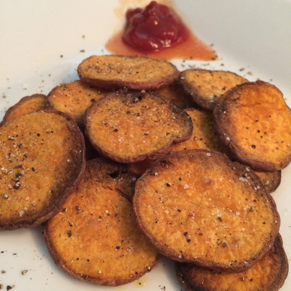 easy, healthy, low-calorie, baked crispy sweet potato chips