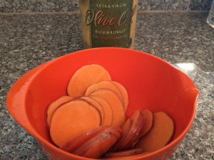 sweet potato tossed in olive oil