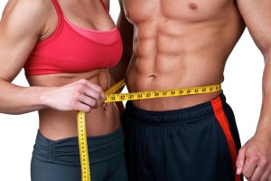 weight loss men and women with tape measure