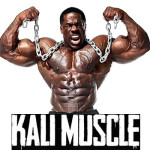Kali Muscle flexing with chains and name below