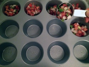 add 1/4 cup of pico de gallo in each muffin cup