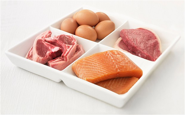 protein - eggs, meat, fish