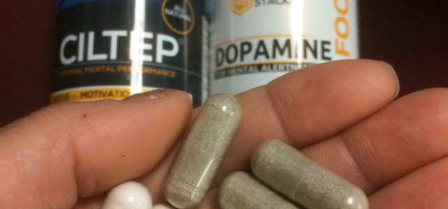 Natural Stacks nootropics (CILTEP & Dopamine) pills in hand