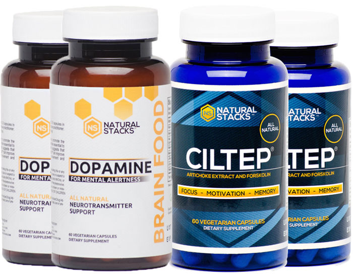 Natural Stacks - Dopamine & CILTEP bottle packaging side by side